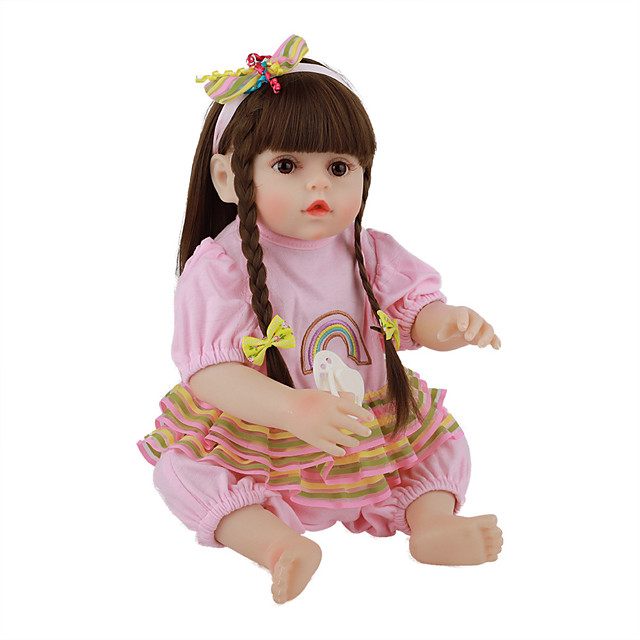 FeelWind 18 inch Reborn Doll Baby & Toddler Toy Reborn Toddler Doll Baby Girl Gift Cute Lovely Parent-Child Interaction Tipped and Sealed Nails Full Body Silicone LV074 with Clothes and Accessories