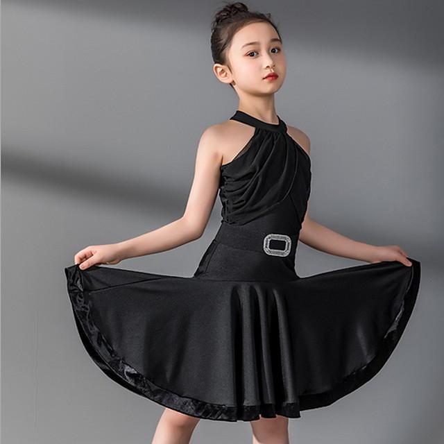 Latin Dance Kids' Dancewear Dress Sashes / Ribbons Pleats Girls' Training Daily Wear Sleeveless Polyester