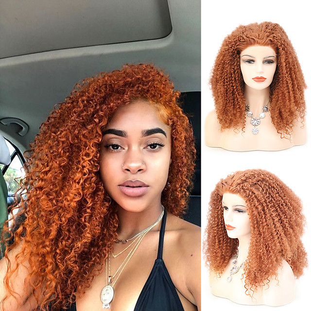 Synthetic Lace Front Wig Curly Afro Curly Free Part Lace Front Wig Short Orange Synthetic Hair 10-16 inch Women's Cosplay Soft Adjustable Brown