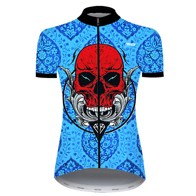 21Grams Women's Short Sleeve Cycling Jersey Nylon Polyester Red+Blue Skull Funny Bike Jersey Top Mountain Bike MTB Road Bike Cycling Breathable Quick Dry Ultraviolet Resistant Sports Clothing Apparel
