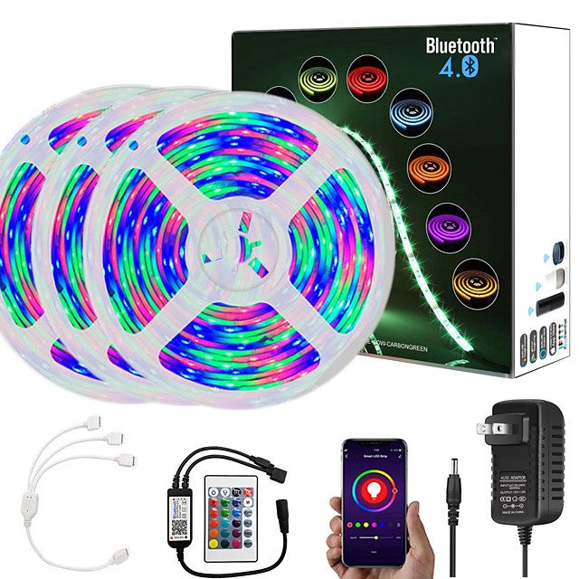 ZDM  15M (3*5M) App Intelligent Control Bluetooth Music Sync Flexible Led Strip Lights Waterproof 2835 RGB SMD 810 LEDs IR 24 Key Bluetooth Controller with 12V 3A Adapter Kit
