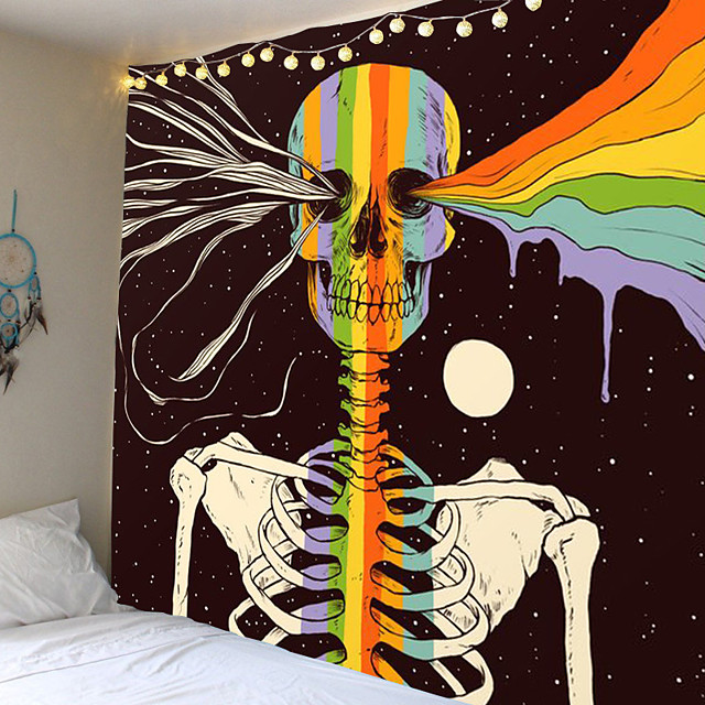 Wall Tapestry Art Decor Blanket Curtain Picnic Tablecloth Hanging Home Bedroom Living Room Dorm Decoration Abstract Halloween Skull Skeleton