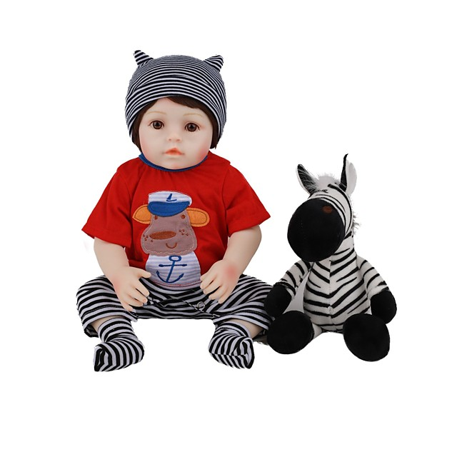 FeelWind 18 inch Reborn Doll Baby & Toddler Toy Reborn Toddler Doll Baby Boy Gift Cute Lovely Parent-Child Interaction Tipped and Sealed Nails 3/4 Silicone Limbs and Cotton Filled Body LV001 with