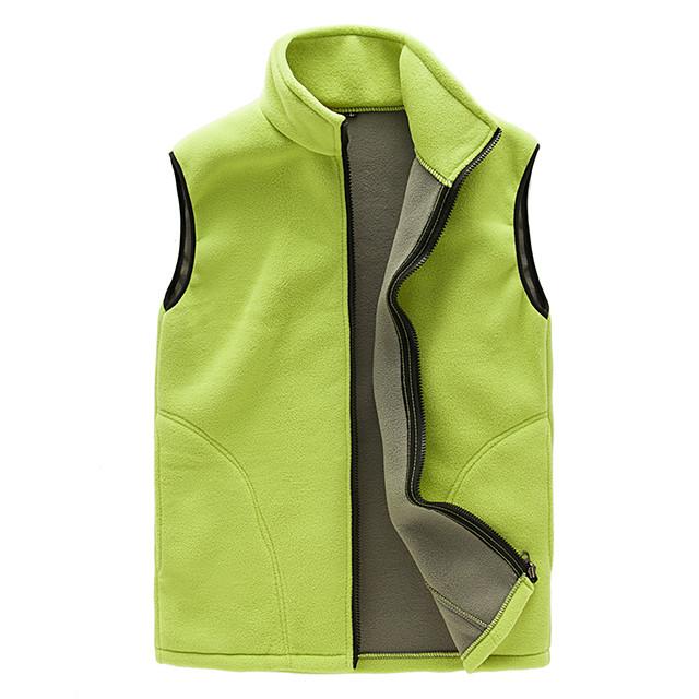 Women's Hiking Fleece Vest Winter Outdoor Solid Color Thermal Windproof Fleece Lining Breathable Vest / Gilet Top Single Slider Full Length Visible Zipper Hunting Ski / Snowboard Fishing Black / Warm
