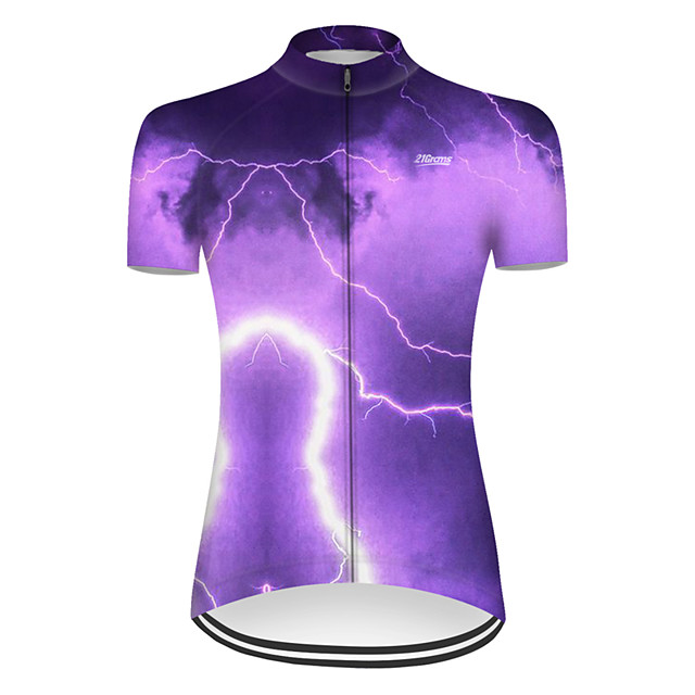 21Grams Women's Short Sleeve Cycling Jersey Nylon Polyester Violet 3D Lightning Gradient Bike Jersey Top Mountain Bike MTB Road Bike Cycling Breathable Quick Dry Ultraviolet Resistant Sports Clothing