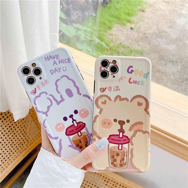 Cute Milk Tea Boba Drink Clear Phone Case For iPhone 7 8 Plus X xs XR se 2020 11 pro max Food Kawaii Cases Cover