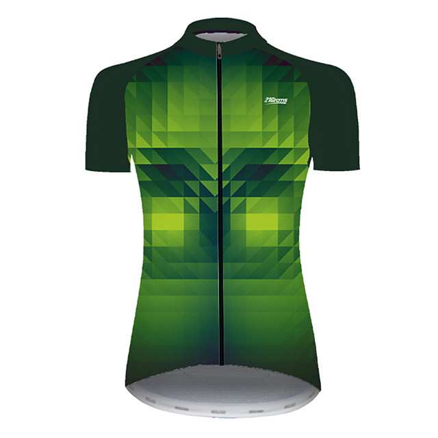 21Grams Women's Short Sleeve Cycling Jersey Nylon Polyester Black / Green Plaid Checkered 3D Gradient Bike Jersey Top Mountain Bike MTB Road Bike Cycling Breathable Quick Dry Ultraviolet Resistant