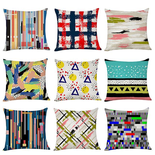 9 pcs Linen Pillow Cover, Art Graffiti Casual Modern Square Traditional Classic