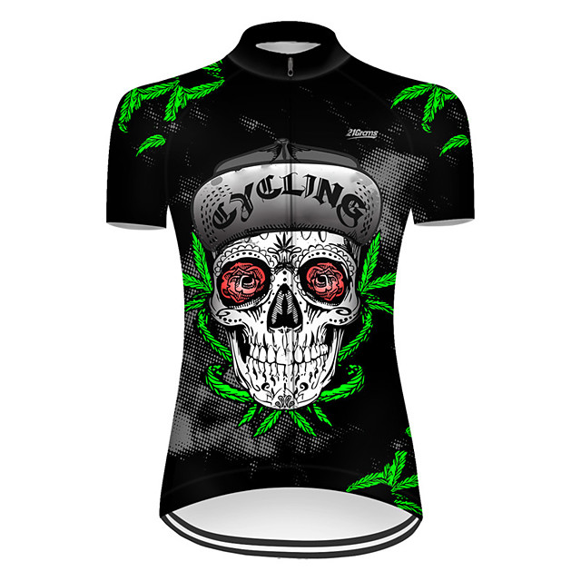 21Grams Women's Short Sleeve Cycling Jersey Nylon Polyester Black / Green Novelty Leaf Skull Bike Jersey Top Mountain Bike MTB Road Bike Cycling Breathable Quick Dry Ultraviolet Resistant Sports