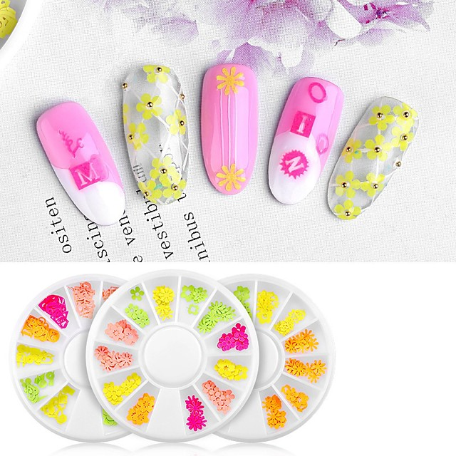 12 pcs Creative / Light and Convenient Plastics Decals For Finger Nail Flower nail art Manicure Pedicure Party / Evening / Daily Sweet / Cute