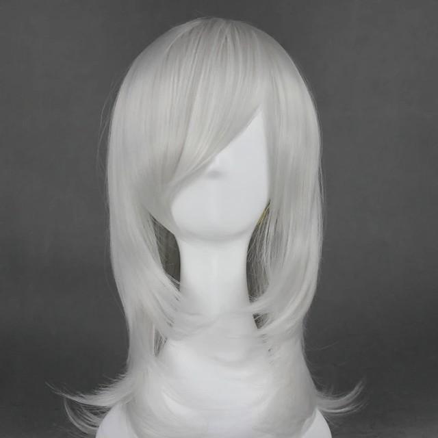 Cosplay Costume Wig Cosplay Wig Kurookano Shijima Nabari No Ou Curly Cosplay Halloween With Bangs Wig Medium Length Silver Synthetic Hair 21 inch Women's Anime Fashionable Design Cosplay Silver