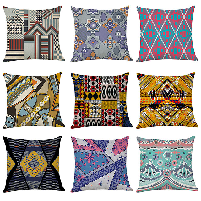 9 pcs Linen Pillow Cover,  Gorgeous Casual Modern Square Traditional Classic