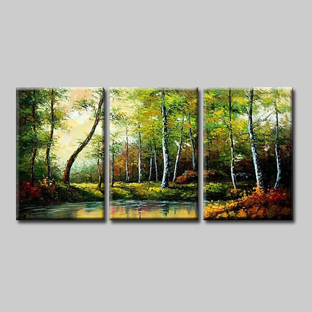 Oil Painting Hand Painted - Abstract Abstract Landscape Comtemporary Modern Stretched Canvas Green Forest