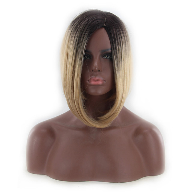 Synthetic Wig kinky Straight Middle Part Wig Short Black / Brown Synthetic Hair 12 inch Women's Simple Fashionable Design Classic Light Brown