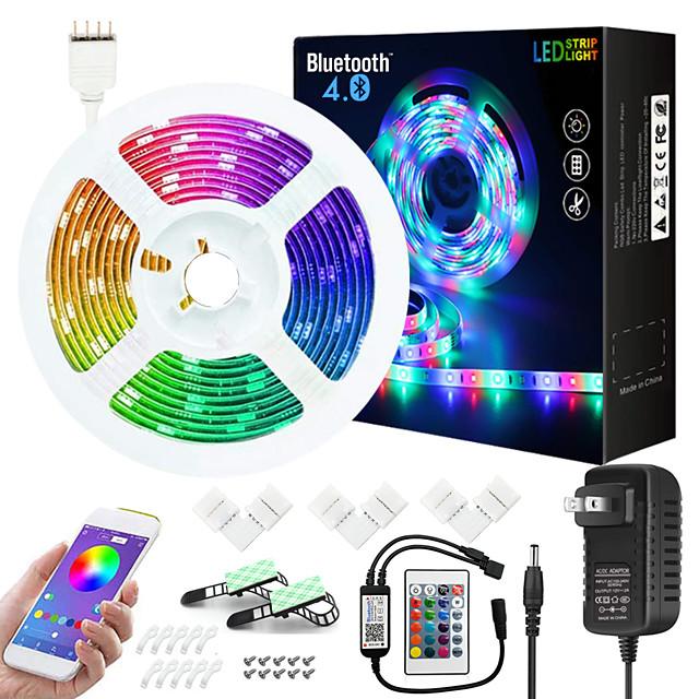 7.5M Music Sync Colour Changing RGB LED Strip Lights 24-Key Remote Sensitive Built-in Mic Bluetooth App Controlled LED Lights 5050 RGB LED Light Strip Kit DC12V