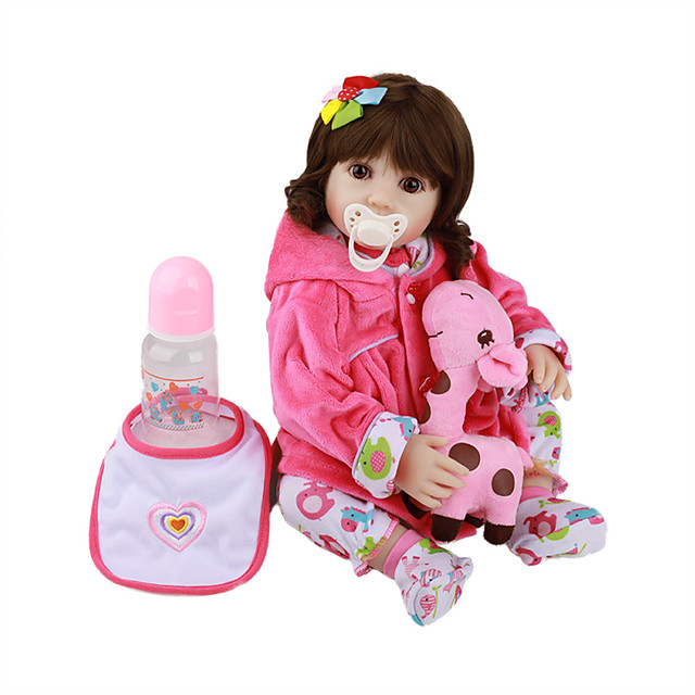 FeelWind 18 inch Reborn Doll Baby & Toddler Toy Reborn Toddler Doll Baby Girl Gift Cute Lovely Parent-Child Interaction Tipped and Sealed Nails Full Body Silicone LV045 with Clothes and Accessories