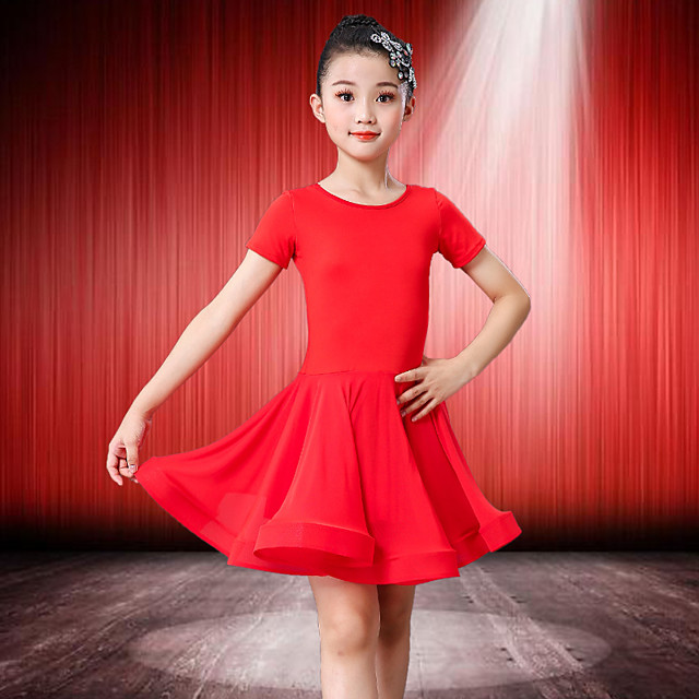 Latin Dance Dress Wave-like Girls' Training Performance Short Sleeve Natural Spandex