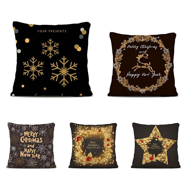 Set of 5 Linen Square Decorative Throw Pillow Cases  Cartoon Christmas Sofa Cushion Covers