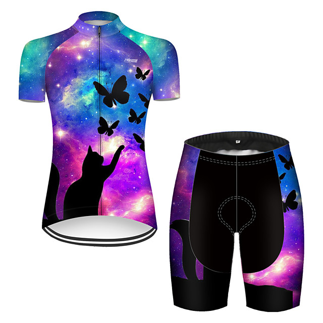 21Grams Women's Short Sleeve Cycling Jersey with Shorts Nylon Polyester Black / Blue Cat Butterfly Animal Bike Clothing Suit Breathable 3D Pad Quick Dry Ultraviolet Resistant Reflective Strips Sports