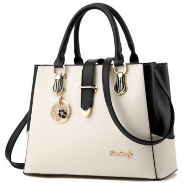 Women's Bags PU Leather Satchel Top Handle Bag Zipper Chain Solid Color Leather Bags Daily Wine White Black Fuchsia