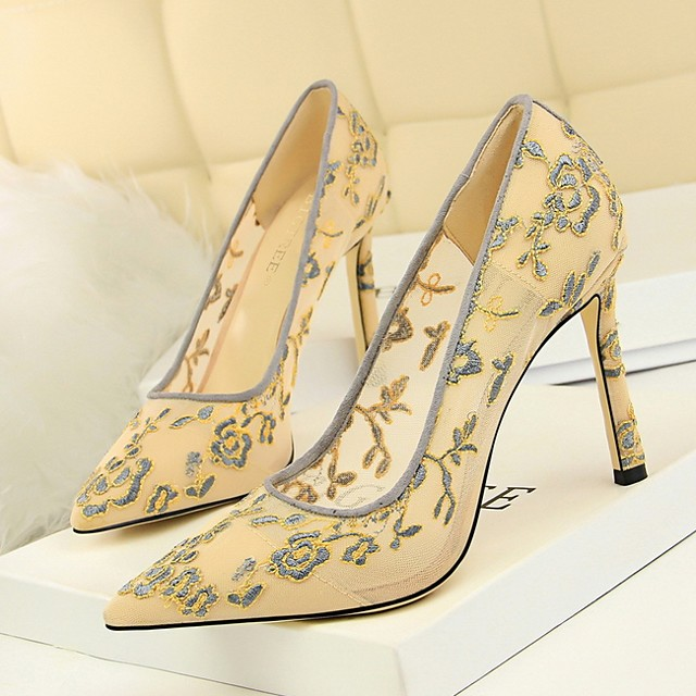 Women's Heels Summer Stiletto Heel Pointed Toe Daily Lace Almond / Black / Yellow