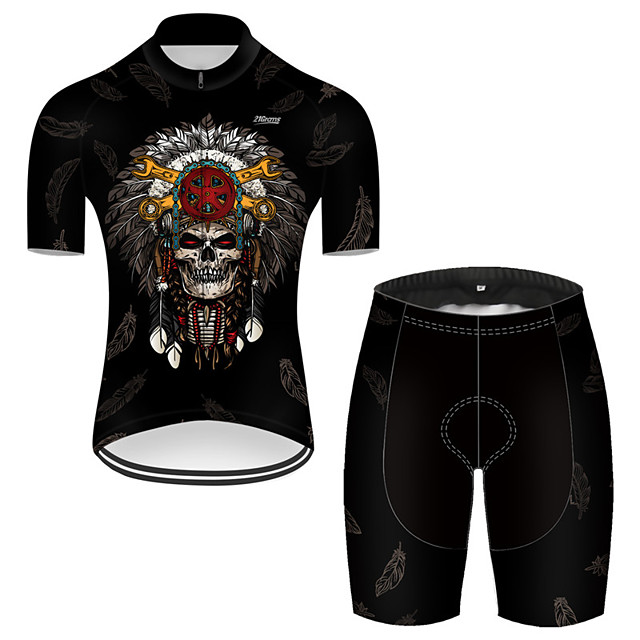 21Grams Men's Short Sleeve Cycling Jersey with Shorts Nylon Polyester Black 3D Novelty Skull Bike Clothing Suit Breathable 3D Pad Quick Dry Ultraviolet Resistant Reflective Strips Sports 3D Mountain