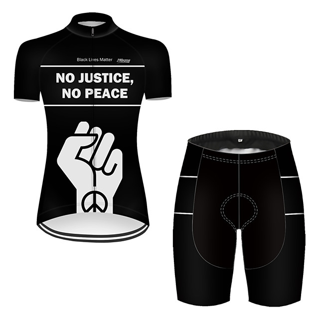 21Grams Women's Short Sleeve Cycling Jersey with Shorts Nylon Polyester Black / White Peace & Love Bike Clothing Suit Breathable 3D Pad Quick Dry Ultraviolet Resistant Reflective Strips Sports Solid
