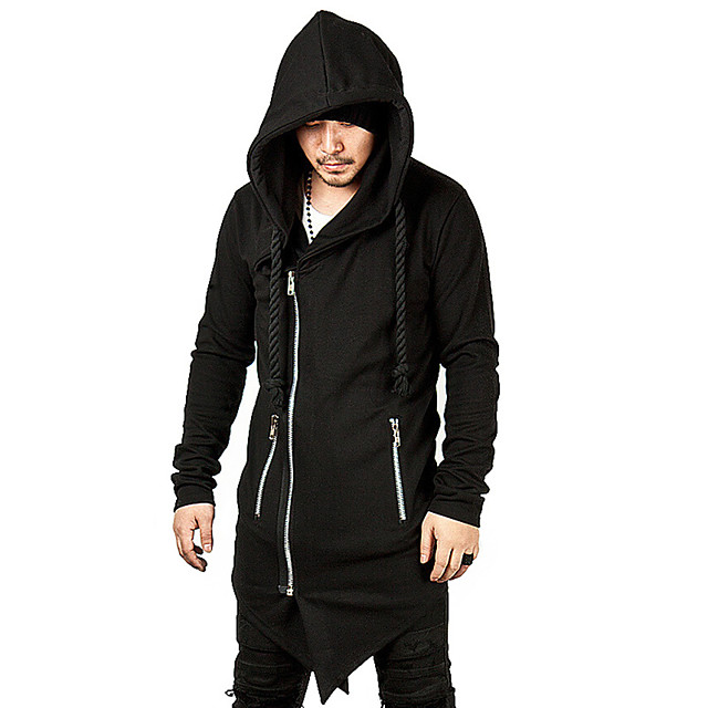 Plague Doctor Vintage Gothic Masquerade Hoodie Men's Costume Black / Gray Vintage Cosplay Event / Party Long Sleeve