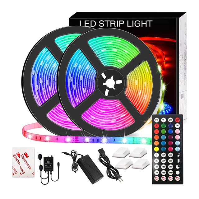 LED Strip Lights Music Sync Waterproof 10M RGB LED Light Strip for Room Lighting SMD 5050 Color Changing Tape Lights kit with LED Controller Flexible Waterproof LED Strip for Home Kitchen