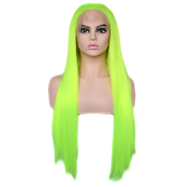 Vogue Queen Bright Yellow Green Long Straight Synthetic Lace Front Wig Heat Resistant Fiber Daily Wearing For Women