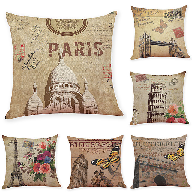 6 pcs Linen Pillow Cover, Retro Architecture Simple Modern Square Traditional Classic