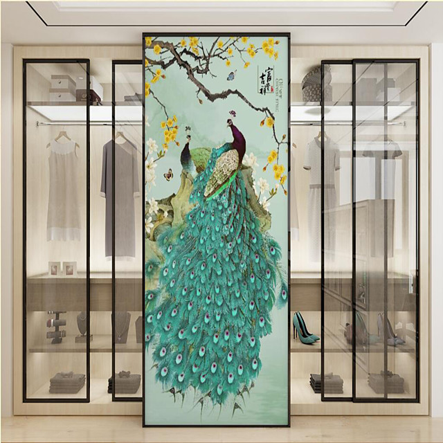 Custom Self-adhesive Mural Green Peacock Suitable for Background Wall Restaurant Bedroom Hotel Wall Decoration Art  Room Wallcovering