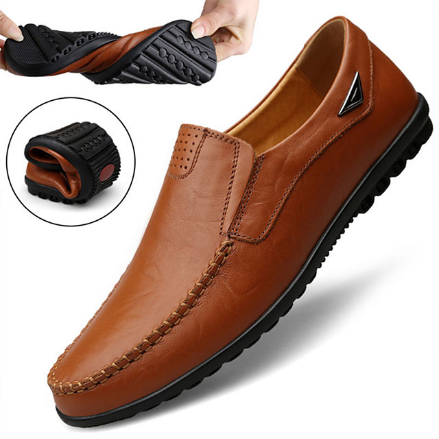 Men's Summer / Fall Casual Daily Loafers & Slip-Ons Cowhide Non-slipping Wear Proof Light Brown / Dark Brown / Black