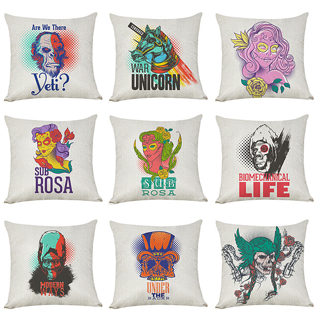 9 pcs Linen Pillow Cover, Retro Style North American Tide Street Casual Modern Square Traditional Classic
