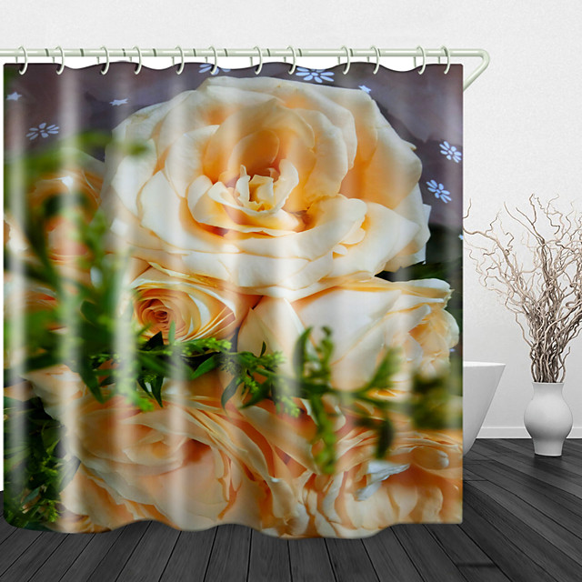 Beautiful Yellow Rose Digital Print Waterproof Fabric Shower Curtain for Bathroom Home Decor Covered Bathtub Curtains Liner Includes with Hooks