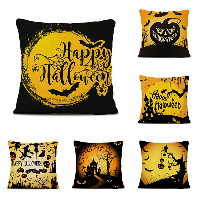 Set of 6 Halloween Party Linen Square Decorative Throw Pillow Cases Sofa Cushion Covers 18x18