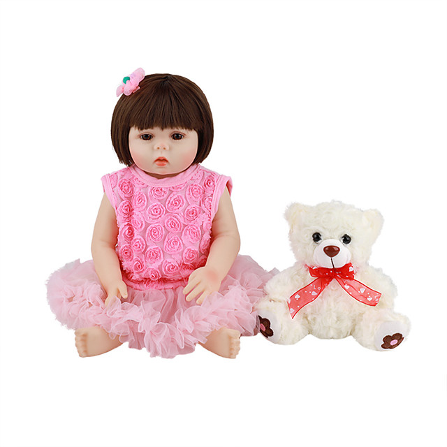 FeelWind 18 inch Reborn Doll Baby & Toddler Toy Reborn Toddler Doll Baby Girl Gift Cute Lovely Parent-Child Interaction Tipped and Sealed Nails Full Body Silicone LV009 with Clothes and Accessories