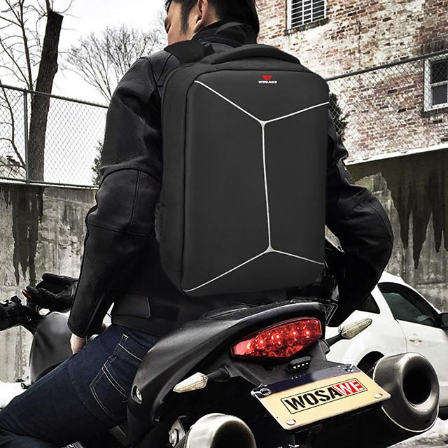 WOSAWE 20-35 L Hiking Backpack Rain Waterproof Outdoor Hiking Motobike / Motorcycle School Oxford Cloth Polyester Black+Sliver