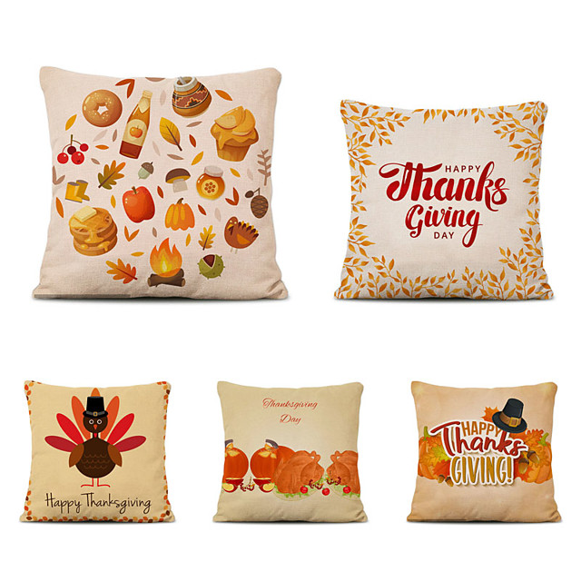 Set of 5 Thanksgiving Linen Square Decorative Throw Pillow Cases Sofa Cushion Covers