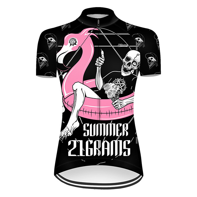 21Grams Women's Short Sleeve Cycling Jersey Nylon Polyester Black / Red Flamingo Animal Skull Bike Jersey Top Mountain Bike MTB Road Bike Cycling Breathable Quick Dry Ultraviolet Resistant Sports
