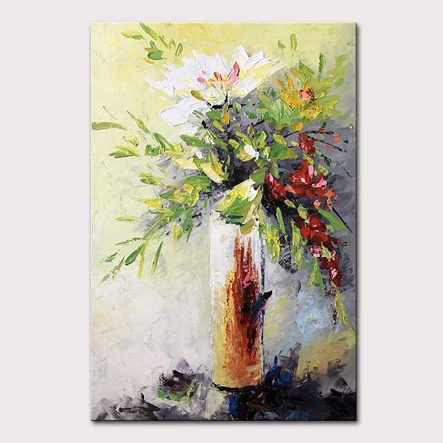 Mintura Original Hand Painted Modern Abstract Knife Flowers Oil Paintings on Canvas Wall Picture Pop Art Posters For Home Decoration Ready To Hang With Stretched Frame