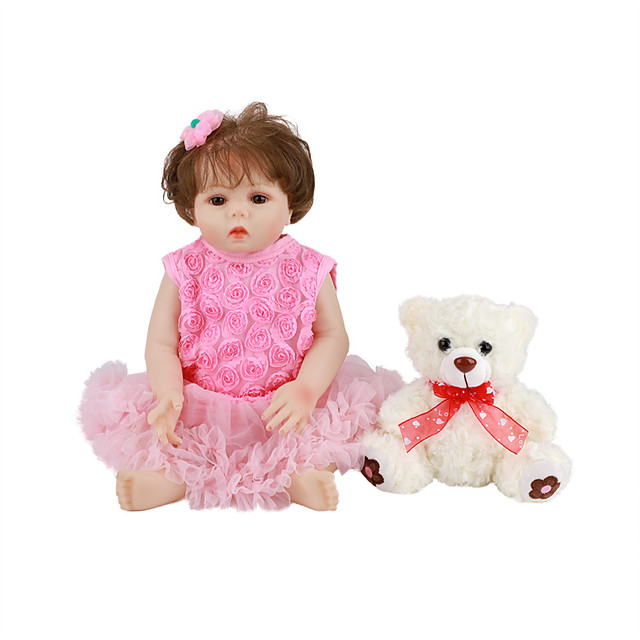 FeelWind 18 inch Reborn Doll Baby & Toddler Toy Reborn Toddler Doll Baby Girl Gift Cute Lovely Parent-Child Interaction Tipped and Sealed Nails Full Body Silicone LV008 with Clothes and Accessories