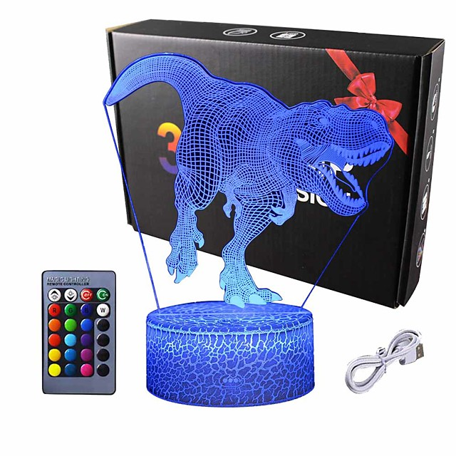 3D Dinosaur Night Light - 3D Illusion Lamp  and16 Color Change Decor Lamp with Remote Control for Kids Dinosaur Gifts for Boys