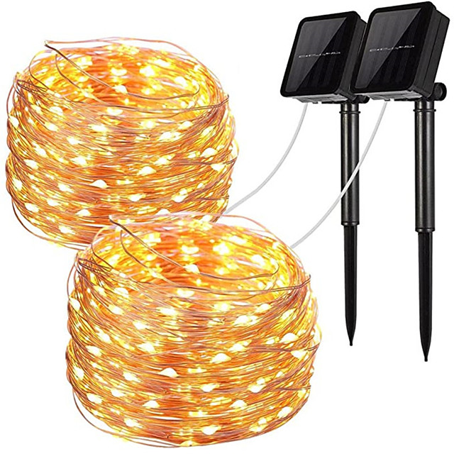 2pcs LED Solar Outdoor Lights Garden String Lights 100 LEDs Fairy Holiday Christmas Party Garland Solar Garden Waterproof 12m