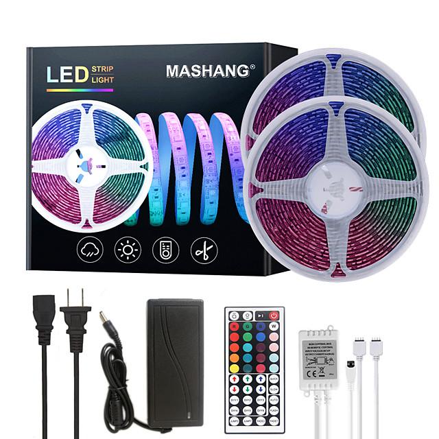 MASHANG 32.8ft 10M LED Strip Lights RGB Tiktok Lights Waterproof SMD 2835 600LEDs SMD 5050 with 44 Keys IR Remote Controller and 100-240V Adapter for Home Bedroom Kitchen TV Back Lights DIY Deco