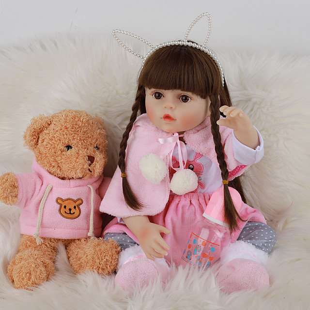 FeelWind 18 inch Reborn Doll Baby & Toddler Toy Reborn Toddler Doll Baby Girl Gift Cute Lovely Parent-Child Interaction Tipped and Sealed Nails 3/4 Silicone Limbs and Cotton Filled Body LV076 with