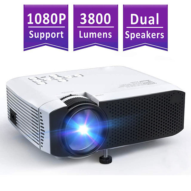 Mini Projector AT400 Beamer 3800L Brightness Projector Support 1080P 180 Display Portable Movie Projector 45000Hrs LED Life and Compatible with TV Stick PS4 HDMI TF AV USB for Home Entertainment