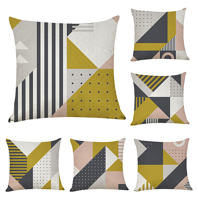 6 pcs Linen Pillow Cover, Geometric Geometic Casual Modern Square Traditional Classic