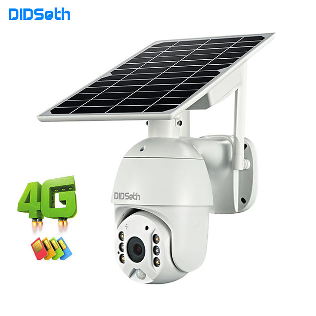 DIDSeth 4G Solar Camera HD 1080P Panel Power IP Speed Dome Camera P2P Mobile Control Solar Charge 4G Mini PTZ Cameras Cloud Storage Security Camera