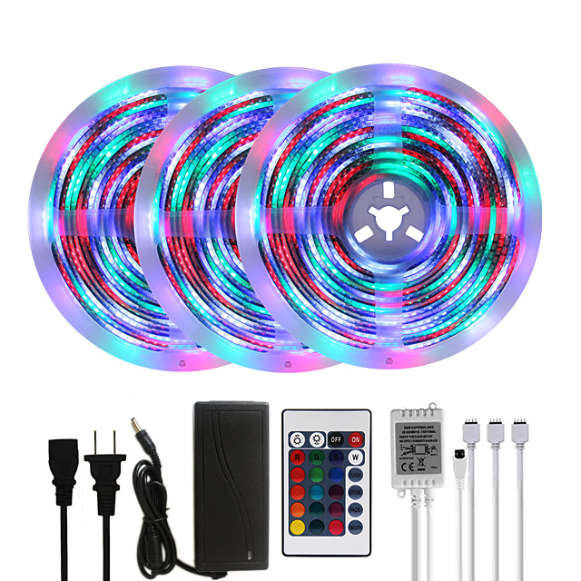 MASHANG Bright RGBW LED Strip Lights 15M(3*5M) Waterproof RGBW Tiktok Lights 3510LEDs SMD 2835 with 24 Keys IR Remote Controller and 100-240V Adapter for Home Bedroom Kitchen TV Back Lights DIY Deco